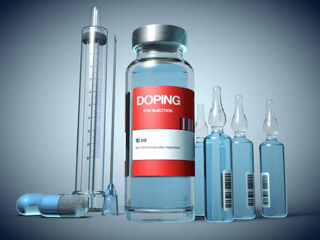 Doping substances in a vial, in ampules and in capsule form and an injection syringe - 3d illustration 스톡 콘텐츠