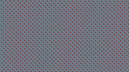 Symmetrically distributed red white striped dots or balls on light blue background - 3d illustration