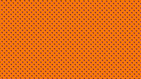 Symmetrically distributed red white striped dots or balls on orange background - 3d illustration 스톡 콘텐츠