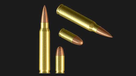Mchine gun ammunition cartridge and pistol cartridge - 3d illustration