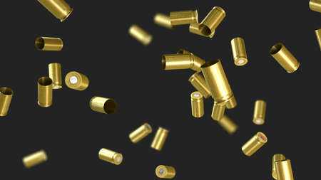 Ammunition cartridge case from a pistol flying through the air - 3d illustration Stock Photo