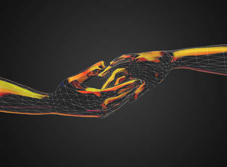 Colorful touching and helping hands in futuristic low poly style - 3d illustration Stok Fotoğraf - 131647391