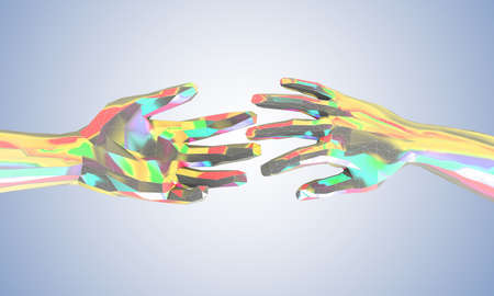 Colorful touching and helping hands in futuristic low poly style - 3d illustration Stok Fotoğraf - 131647968
