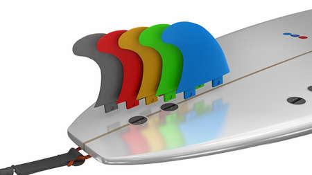 Surfboard fins in different colors for viewing over a surfboard - 3d illustration