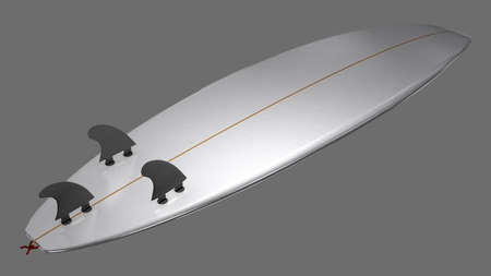 Underside of a short surfboard with fins and fin plugs - 3d illustration Stockfoto