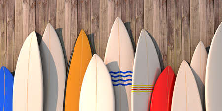 Many different colored surfboards standing in a row on a wooden wall -3d illustration Stockfoto