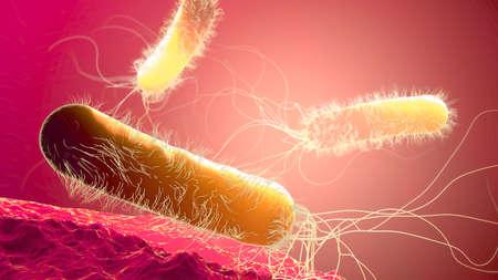 Yellow colored multiple antibiotic resistant Pseudomonas aeruginosa bacterium - 3d illustration Stock fotó