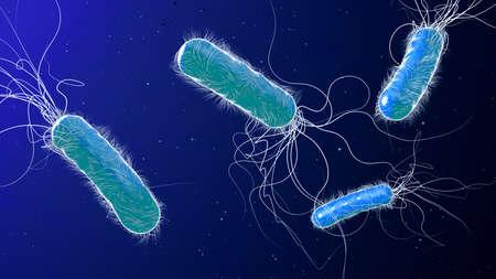 Blue colored multiple antibiotic resistant Pseudomonas aeruginosa bacterium - 3d illustration