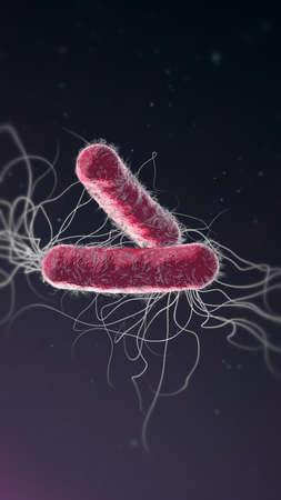 Violet colored multiple antibiotic resistant Pseudomonas aeruginosa bacterium - 3d illustration