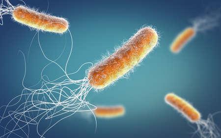 Orange colored multiple antibiotic resistant Pseudomonas aeruginosa bacterium - 3d illustration