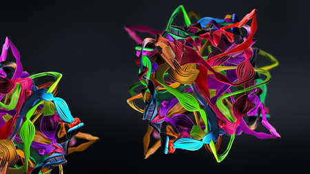 Chain of amino acid or biomolecules called protein - 3d illustration
