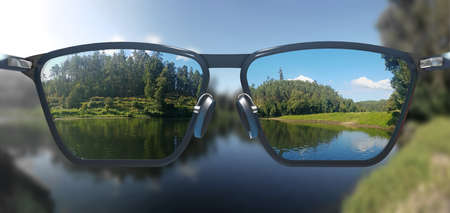 Free, clear and sharp view through corrective glasses - 3d illustration 版權商用圖片