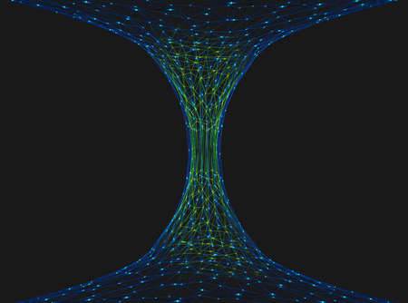 Abstract representation of a wormhole consisting of lines and points - 3d illustration Stock Photo