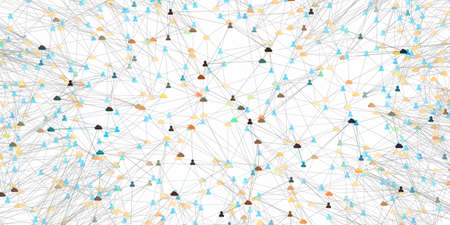 Digital network of connected online cloud storage and user - 3d illustration Standard-Bild - 151908160