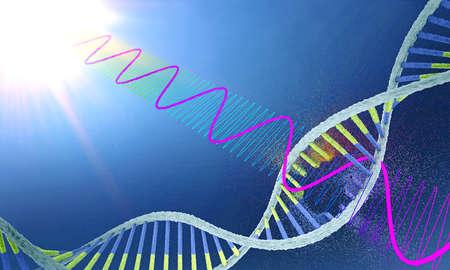 Radiation damages ribonucleic acid or dna strand - 3d illustration