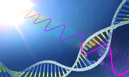 Radiation damages ribonucleic acid or dna strand - 3d illustration