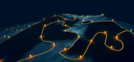 Overview of a winding hiking trail through the mountains with waypoints - 3d illustration