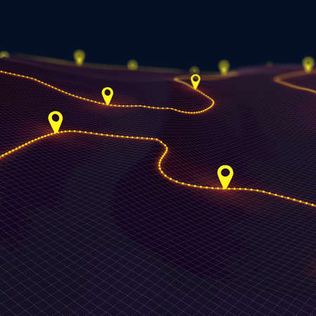 Overview of a winding hiking trail through the mountains with waypoints - 3d illustration Standard-Bild - 153139419