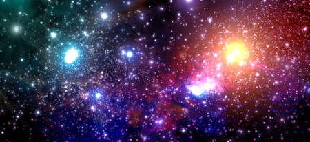 Fictitious colorful star field with nebulae, sparkling stars, suns and galaxies - 3d illustration Standard-Bild
