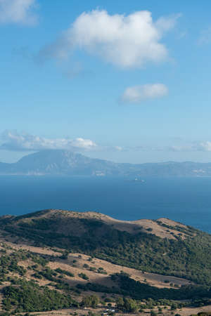 View of the Strait of Gibraltar from a mountain with the view of the African continent