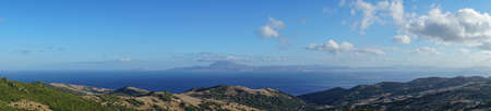 Panoramic view of the Strait of Gibraltar from a mountain with the view of the African continent