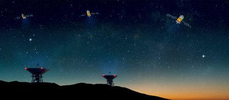 Landscape with radio telescopes on ground and satellites in starry night sky - 3d Illustration Standard-Bild