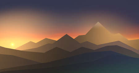 Simple illustration of mountainous landscape with high mountains in sunset - 3d illustration