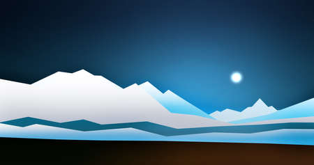 Simple illustration of snowy icy landscape with snowy mountains - 3d illustration