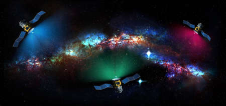 Satellites exploring the deep space and galaxies in the universe - 3d illustration Standard-Bild - 163427828