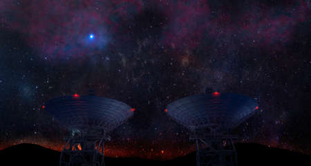 Landscape with signal receiving radio telescopes in starry night sky - 3d Illustration