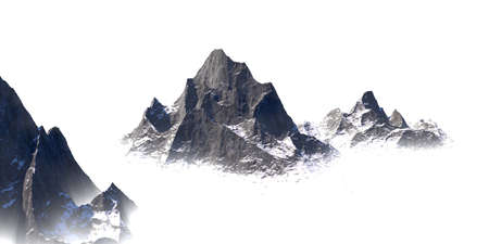 High snow covered rock massif rise from the fog - 3d Illustration