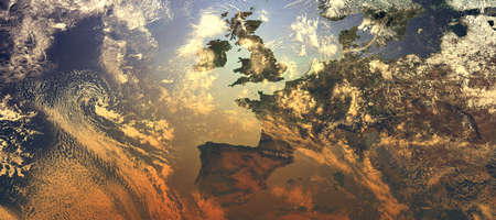 View of Europe with orange glowing and dense atmosphere to illustrate global warming - 3d illustration