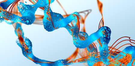 Chain of amino acid or bio molecules called protein - 3d illustration Reklamní fotografie