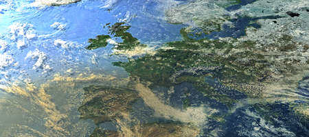 Top view from a heavily clouded Europe - 3d illustration