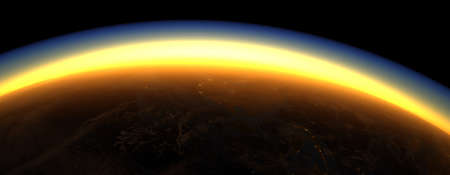 Section of the earth's surface with orange glowing and dense atmosphere to illustrate global warming - 3d illustration Reklamní fotografie