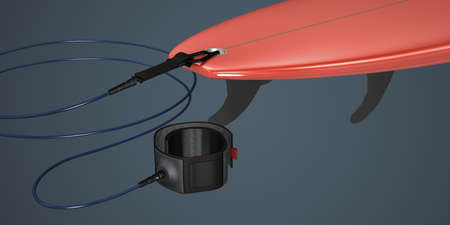Rear part of a short surfboard with tail, fins and leash - 3d illustration Standard-Bild