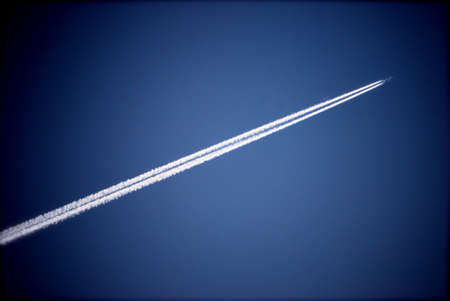 steam jet: Airplane Trail in Sky