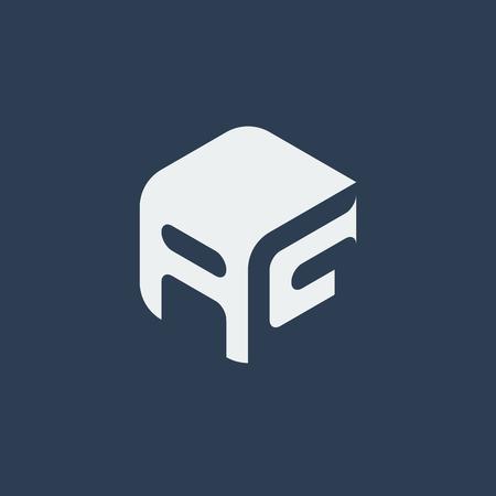 ag: AG Logo.. Vector Graphic Business Branding Letter Element Illustration. Cube Negative Space Design. Dark Background Illustration