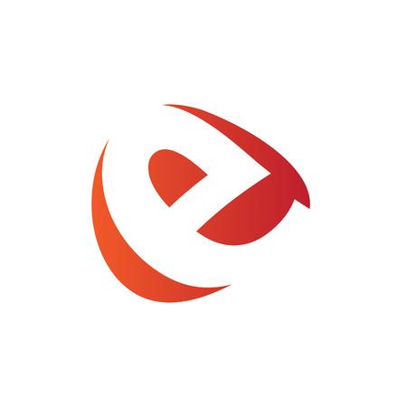 e white: E Logo.. Vector Graphic Business Branding Letter Element Illustration. Orange Negative Space Design. White Background