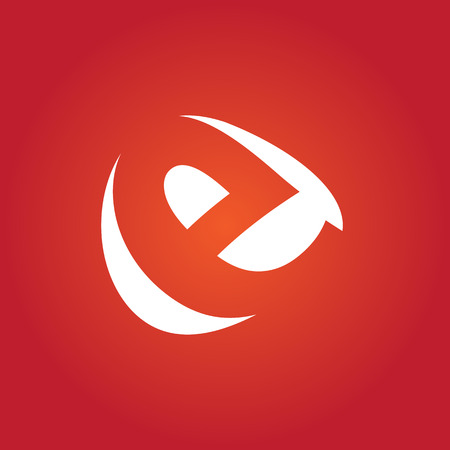 e white: E Logo.. Vector Graphic Business Branding Letter Element Illustration. White Negative Space Design. Orange Background