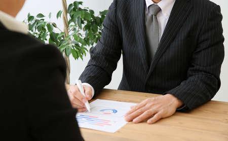 Businessman explaining Stock Photo