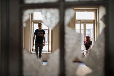 couple in abandoned building photo