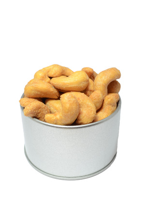 salted cashew on white background photo