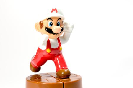 nintendo: Bangkok, Thailand - December 31, 2014 : Super Mario Bros figure character from Super Mario video game console developed by Nintendo.