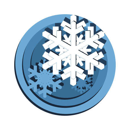 Snow crystals (snowflake) in a Christmas concept in paper cut style.