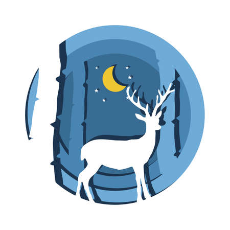 Deer in forest in a Christmas concept in paper cut style.