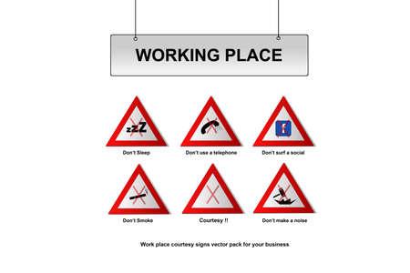 face book: Trabajar signos de lugar Vectores