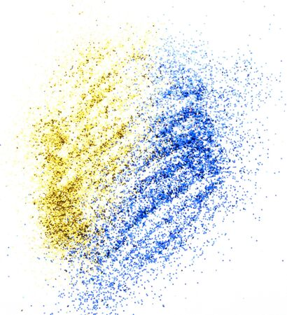 sequins: yellow and blue sequins on a white