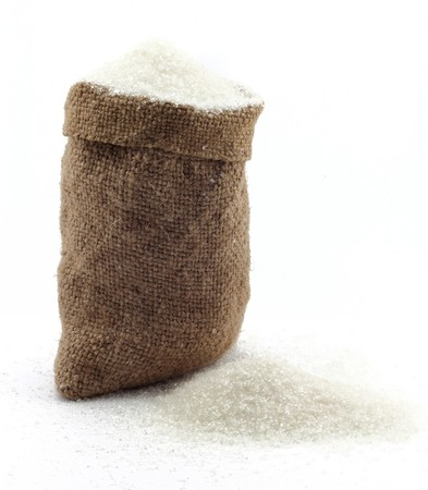 small bag of sugar on a white background