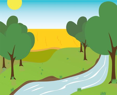 picture stream, field, trees, grass Stock Vector - 7414750